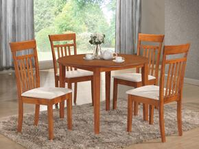 "G0032TC 5 PC Dining Room Set with 42"" Round Dining Table + 4 Side Chairs in Maple Finish"