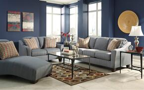 Hannin 95802QSSLCH 3-Piece Living Room Set with Queen Sofa Sleeper, Loveseat and Chaise in Lagoon