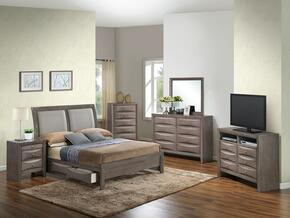 G1505DDFSB2CHDMNTV2 6 Piece Set including Full Size Bed, Chest, Dresser, Mirror, Nightstand and Media Chest  in Gray