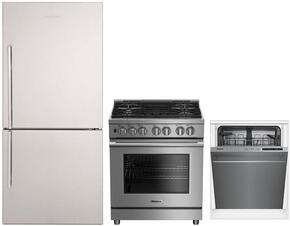 """3-Piece Kitchen Package with BRFB1812SSN 30"""" Bottom Freezer Refrigerator, BGRP34520SS 30"""" Freestanding Gas Range, and a free DWT56502SS 24"""" Built In Fully Integrated Dishwasher in Stainless Steel"""