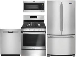 "4-Piece Kitchen Package with MFC2062FEZ 36"" French Door Refrigerator, MGR6600FZ 30"" Gas Freestanding Range, MDB8959SFZ 24"" Built in Dishwasher and MMV4206FZ 30"" Over The Range Microwave oven in Stainless Steel"