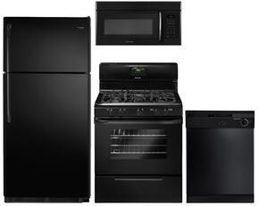 "4-Piece Black Kitchen Package wtih FFTR1821QB 30"" Top Freezer Refrigerator, FFGF3019LB 30"" Freestanding Gas Range, FBD2400KB 24"" Full Console Dishwasher and FFMV162LB 30"" Over the Range Microwave"