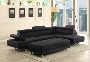 Milan Collection G441SCO 2 PC Living Room Set with Sectional Sofa + Ottoman in Black Color