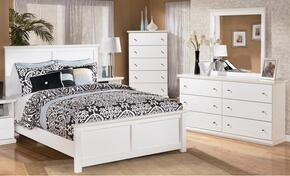 Melton Collection Queen Bedroom Set with Panel Bed, Dresser, Mirror in White