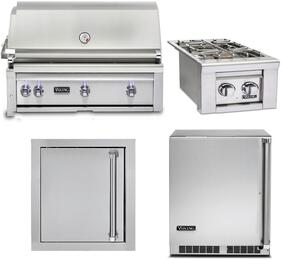 "4-Piece Stainless Steel Outdoor Kitchen Package with VQGI5420LSS 42"" Built-In Liquid Propane Grill, VQGSB5130LSS 13"" Side Burner, VOADS5240SS 24"" Access Door, and VRUO5240DLSS 24"" Outdoor Refrigerator"