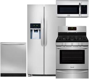 "4-Piece Stainless Steel Kitchen Package with FGHS2631PF 36"" Side-by-Side Refrigerator, FGGF3058RF 30"" Gas Range, FGID2466QF 24"" Fully Integrated Dishwasher and FGMV175QF 30"" Over-the-Range Microwave"