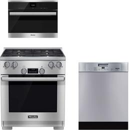 "3-Piece Kitchen Package with HR1124LP 30"" Freestanding Gas Range, DG6500 24"" Single Wall Oven, and G4926SCUCLST 24"" Built In Full Console Dishwasher in Stainless Steel"