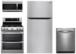 "4 Piece Kitchen Package With LDG4311ST 30"" Gas Freestanding Range, LMV1683ST 30"" Over The Range Microwave Oven, LTCS20220S 30"" Bottom Freezer Refrigerator and LDF7774ST 24"" Built In Dishwasher"