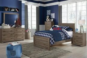 Javarin Twin Bedroom Set with Panel Bed, Dresser, Mirror, 2x Nightstands and Chest in Greyish Brown