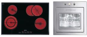 """2-Piece Kitchen Package With S2772TCU 30"""" Electric Cooktop and FU675 24"""" Electric Single Wall Oven in Stainless Steel"""