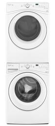 "White Front Load Laundry Pair with WFW75HEFW 27"" Washer, WGD75HEFW 27"" Gas Dryer and W10869845 Stacking Kit"
