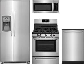"4-Piece Stainless Steel Kitchen Package with FFSC2323TS 36"" Side by Side Refrigerator, FFGF3054TS 30"" Freestanding Gas Range, FFMV1645TS 30"" Over the Range Microwave, and FFID2426TS 24"" Fully Integrated Dishwasher"