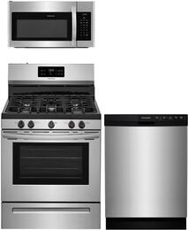 "3-Piece Stainless Steel Kitchen Package with FFGF3054TS 30"" Freestanding Gas Range, FFMV1645TS 30"" Over-the-Range Microwave and FFBD2412SS 24"" Full Console Dishwasher"