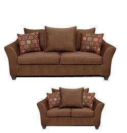 6900SL Kendra Sofa + Loveseat with 1.5 Density Dacron Wrapped Cushions, Sewn Pillow Cushions, No Sag Steel Springs, Polyester Blend Upholstery and Zippered Cushions in Victory Chocolate