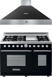 "Deco 2-Piece Black Chrome RD482GCNC 48"" Freestanding Gas Range and HD481ACNC 48"" Wall Mount Range Hood"