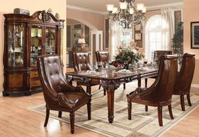 Winfred Collection 600758TCHB 8 PC Dining Room Set with Dining Table + 6 Side Chairs + China Cabinet in Cherry Finish