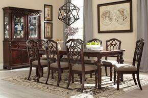 Leahlyn Collection 11-Piece Dining Room Set with Dining Room Table, 8 Side Chairs, Buffet and Hutch in Reddish Brown