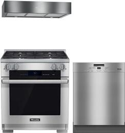 """3-Piece Stainless Steel Kitchen Package with HR1924DFLP 30"""" Freestanding Dual Fuel Range, DA1280 30"""" Under Cabinet Hood, and G5105SCSS 24"""" Full Console Dishwasher"""