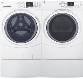 "White Front Load Laundry Pair with GFW450SSKWW 27"" Washer, GFD45ESSKWW Electric Dryer and Two SBSD137HWW Laundry Pedestals"