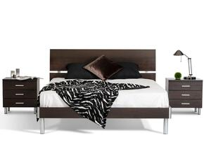 VGDEB1003-WGEQN Modrest Bravo Queen Size Bed + 2 Nightstands with Brushed Silver Metal Accents in Wenge Finish