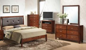 G1200ATBDMTV 4 Piece Set including Twin Bed, Dresser, Mirror and Media Chest in Cherry