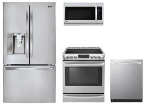 "4-Piece Kitchen Package with LFXS30726S 36"" French Door Refrigerator, LG LSE4613ST 30"" Electric Range, LMH2235ST 30"" Microwave Oven and LDT5665ST 24"" Built in Dishwasher in Stainless Steel"