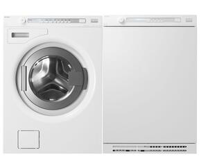 "White Front Load Compact Laundry Pair with W8844XLW 24"" Washer and T884XLW24"" Vented Electric Dryer"