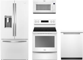 "4-Piece White Ice Kitchen Package with WRF992FIFH 36"" French Door Refrigerator, WFE775H0HW 30"" Freestanding Electric Range, WMH53521HW 30"" Over the Range Microwave, and WDTA50SAHW 24"" Fully Integrated Dishwasher"