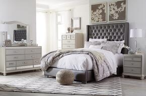 Coralayne Collection King Bedroom Set with Panel Bed, Dresser, Mirror, Nightstand and Chest in Gray