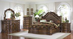 66218013BDMC2N San Mateo 6 PC Bedroom Set with California King Size Sleigh Bed + Dresser + Mirror + Chest + 2 Nightstands in Pecan Veneer Medium Brown Finish
