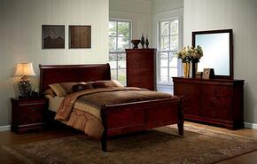 Louis Philippe III Collection CM7866CHTBEDSET 5 PC Bedroom Set with Twin Size Sleigh Bed + Dresser + Mirror + Chest + Nightstand in Cherry Finish