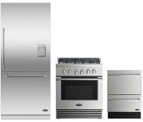 "3 Piece Stainless Steel Kitchen Package With RDV2304L 3O"" Gas Freestanding Range, RS36W80RUC1 36"" Built In Refrigerator and DD24DV2T7 24"" Drawers Dishwasher"