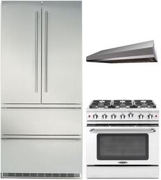 "3-Piece Stainless Steel with CS2062 36"" French Door Refrigerator, MCR366N 36"" Freestanding Gas Range, and MAES3610SS600B 36"" Under Cabinet Convertible Hood"