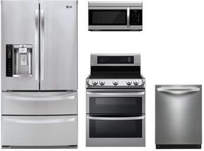 "4 Piece Kitchen Package With LDE4413ST 30"" Electric Freestanding Range, LMV1683ST Over the Range Microwave Oven, LMXS27626S 36"" French Door Refrigerator and LDF7774ST 24"" Built In Dishwasher In stainless Steel"