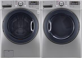"Graphite Steel Front Load Laundry Pair with WM3770HVA 27"" Washer and DLEX3570V 27"" Electric Dryer"