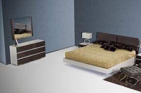 VGWCSW-B01EKDMN Modrest Anzio Floating Eastern King Size Bed + Dresser + Mirror + 2 Nightstand in Brown Oak