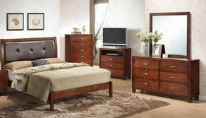 G1200AKBDMTV 4 Pice Set including King Bed, Dresser, Mirror and Media Chest in Cherry