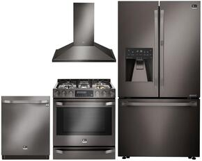 "Studio Series 4-Piece Kitchen Package With LSSB2696BD 42"" Built In Side by Side Refrigerator  LSSG3019BD 30"" Slide-in Gas Range, LSHD3089BD 30"" Wall Mount Convertible Hood and LSDF9969BD 24"" Built In Dishwasher in Black Stainless Steel"