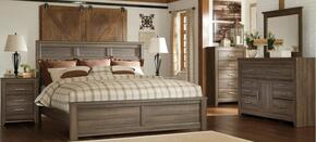 Juararo Queen Bedroom Set with Panel Bed, Dresser, Mirror and Nightstand in Dark Brown
