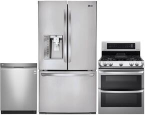 "3-Piece Stainless Steel Kitchen Package with LFXC24726S 36"" French Door Refrigerator, LDG4315ST 30"" Freestanding Double Oven Gas Range and LDF7774ST 24"" Fully-Integrated Dishwasher"
