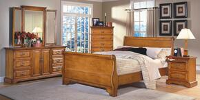 1133ESBDMCN Honey Creek 5 Piece Bedroom Set with King Sleigh Bed, Dresser, Mirror, Nightstand and Chest, in Caramel
