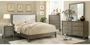 Enrico I Collection CM7068GYKBDMCN 5-Piece Bedroom Set with King Bed, Dresser, Mirror, Chest and Nightstand in Grey Finish