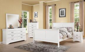 Louis Philippe III Collection 24494CK5PC Bedroom Set with California King Size Bed + Dresser + Mirror + Chest + Nightstand in White Color