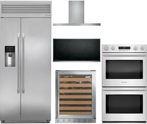 "5-Piece Stainless Steel Kitchen Package with ZISP420DKSS 42"" Side by Side Refrigerator, ZEU36RSJSS 36"" Smooth Cooktop, ZV800SJSS 36"" Under Cabinet Hood, ZET2SHSS 30"" Double Wall Oven, and ZDWR240HBS 24"" Wine Cooler"