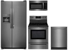 "4-Piece Kitchen Package With FFSS2615TD 36"" Side by Side Refrigerator, FFEF3054TD 30"" Electric Range, FFMV1645TD 30"" Over-the-Range Microwave and FFID2426TD 24"" Fully Integrated Dishwasher in Stainless Steel"