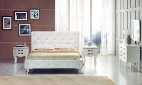 VGJYMONTECARLO-WHT-CQDMN Modrest Monte Carlo Queen Size Bed +Dresser + Mirrir + 2 Nightstands in White