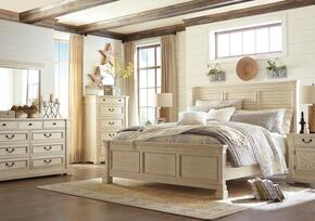Bolanburg King Bedroom Set with Louvered Panel Bed, Dresser, Mirror, Nightstand and Chest in Antique White