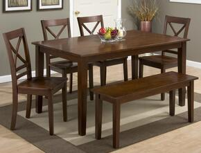 Simplicity Collection 452606SET 6 PC Dining Room Set with Dining Table + Bench + 4 X-Back Chairs in Caramel Finish