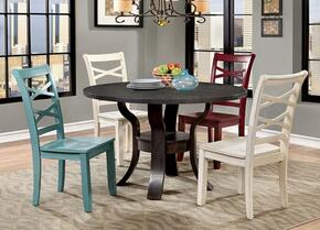 Gisela Collection CM3518RT2WSC2SC 5-Piece Dining Room Set with Round Table, 2 White Side Chairs and Red and Blue Side Chairs in Espresso