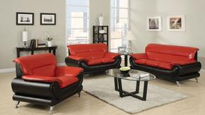 Orel 50710SLC 3 PC Living Room Set with Sofa + Loveseat + Chair in Red and Black Color